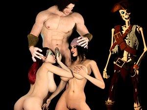 Pirata Jessica animación monstruo 3D