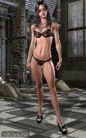 Morena suave con una ropa interior oscura